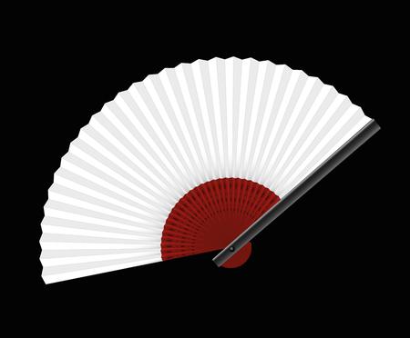 fanned: White hand fan on black background - illustration. Illustration