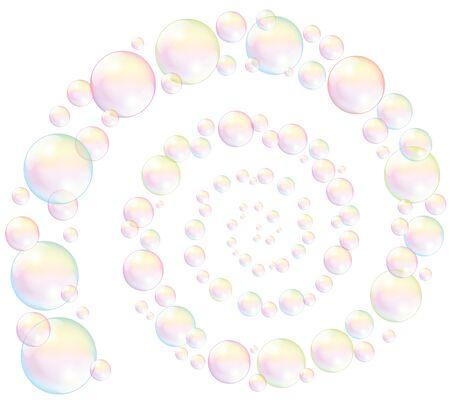iridescent: Soap bubbles spiral - isolated illustration on white background. Illustration