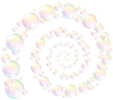 Soap bubbles spiral - isolated illustration on white background.