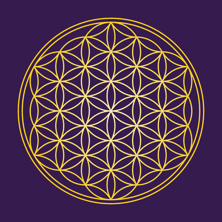 Flower of Life - Gold on dark purple background - a geometrical figure, composed of multiple evenly-spaced, overlapping circles. A strong symbol since ancient times, forming a flower-like pattern.