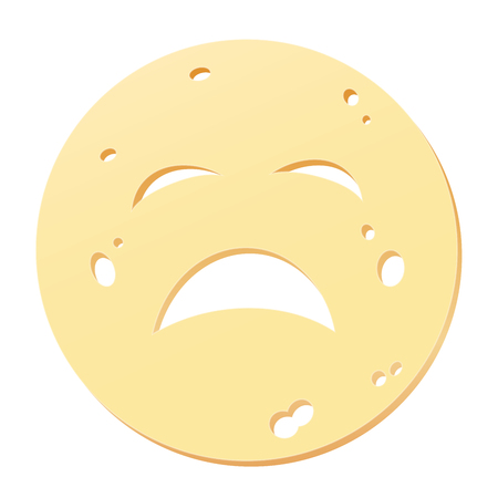 Cheese slice with unhappy face - symbol for unhealthy, noxious, allergenic or stale nutrition. Isolated illustration on white background.
