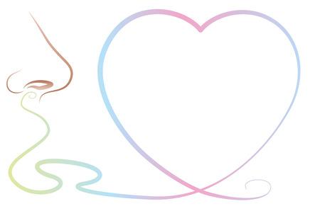 Geruchswahrnehmung mit Herz-Symbol - eine Nase, das ist riecht einen schönen Duft, einen süßen Duft oder eine Geruchsreizes wie Pheromone.
