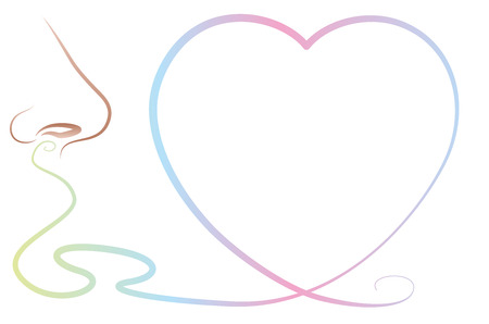 Odor perception with heart symbol - a nose thats smells a lovely scent, a sweet fragrance or an olfactory stimulus like pheromones.