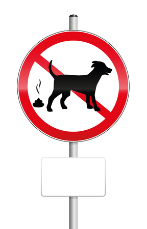dog poop: No poop zone for dogs, traffic sign with blank place to be labeled. Isolated vector illustration over white background.
