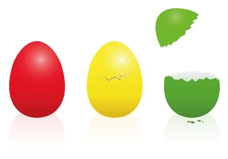 intact: Easter eggs - traffic light colors - red, yellow, green - intact, broken, open. Three-dimensional isolated vector illustration on white background. Illustration