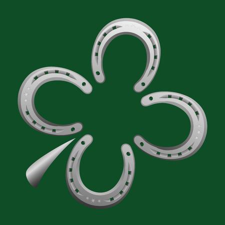 Ferri di cavallo che formano una foglia di trifoglio come simbolo di buona fortuna. Illustrazione vettoriale su sfondo verde.