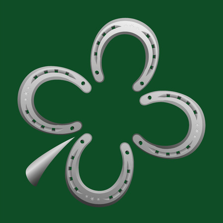 farriery: Horseshoes forming a clover leaf as a symbol for good luck. Vector illustration on green background.