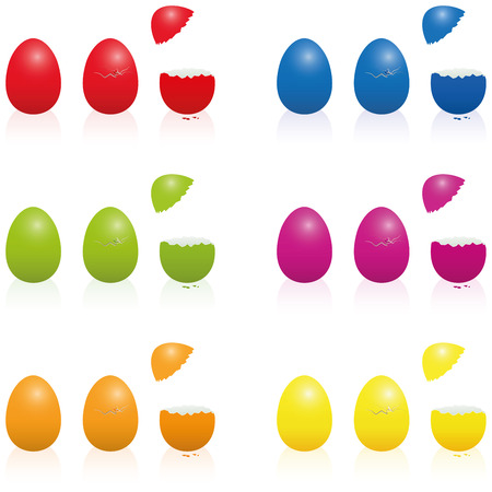 cracked egg: Easter eggs - fill-able cracked packing in various vibrant colors. Three-dimensional isolated vector illustration over white.