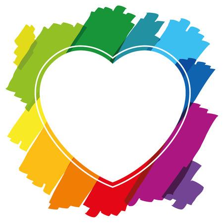 brush strokes: Heart shaped frame made of colorful brush strokes. Isolated illustration on white background.