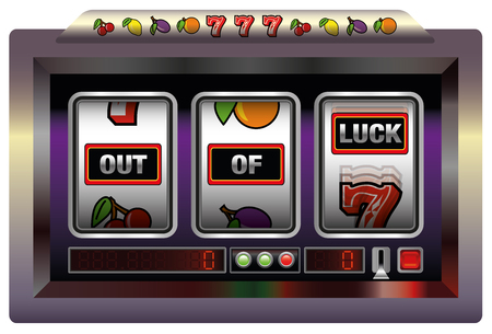 tough luck: Gaming machine with three reels lettering OUT OF LUCK. Isolated illustration on white background.
