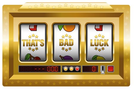 tough luck: Thats bad luck - golden slot machine with three reels as a symbol for misfortune. Isolated illustration on white background. Illustration