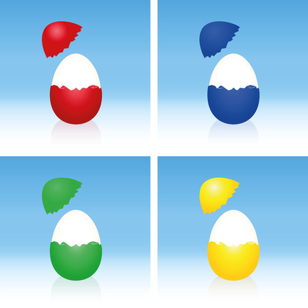 boiled eggs: Easter eggs with cracked half peeled shell and hard boiled egg white. Three-dimensional illustration on gradient blue background. Illustration