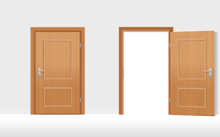 go inside: Doors - Two wooden doors, one is closed, the second is open. illustration. Illustration