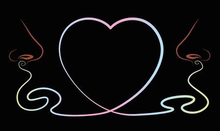 Noses that smell something lovely like love pheromones, depicted as a heart symbol between them. Isolated illustration on black background.