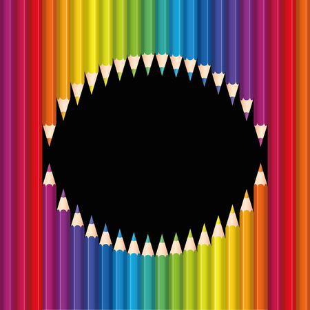 snarl: Pencils monster mouth with colorful sharp teeth. Illustration on black background.
