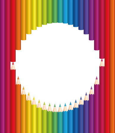 colour pencil: Pencils forming a round frame. Illustration on white background. Illustration