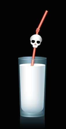 hazard: Milk Dangers - Glass of milk with skull on a red straw, as a warning symbol for bad milk. Isolated illustration on black background.