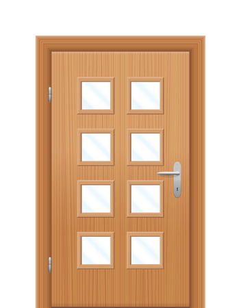 white door: Door with vision panels. Isolated illustration on white background.