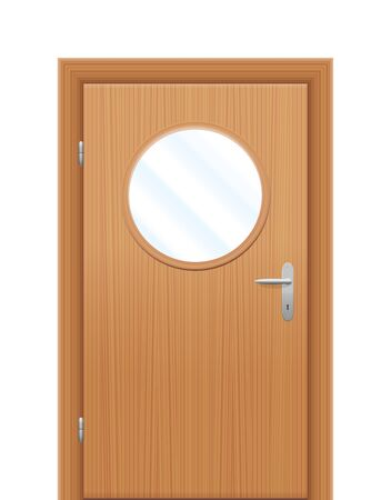 peephole: Door with circular viewing window. Isolated illustration over white background.