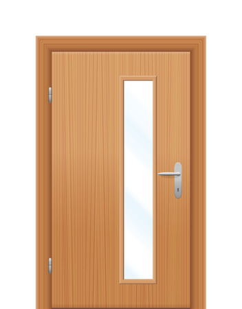 oblong: Vision panel - vertical oblong window in wooden door. Isolated illustration on white background. Illustration