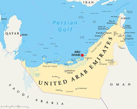 gulf: UAE United Arab Emirates political map with capital Abu Dhabi, national borders, important cities and bodies of water. English labeling and scaling. Illustration.