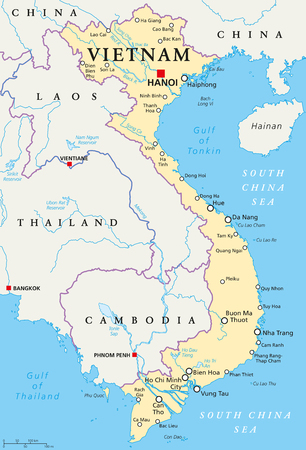 Vietnam political map with capital Hanoi, national borders, important cities, rivers and lakes. English labeling and scaling. Illustration.
