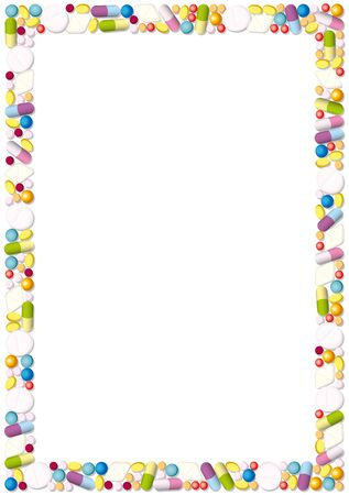 white pills: Frame made of pills, tablets and capsules. Isolated illustration over white background.