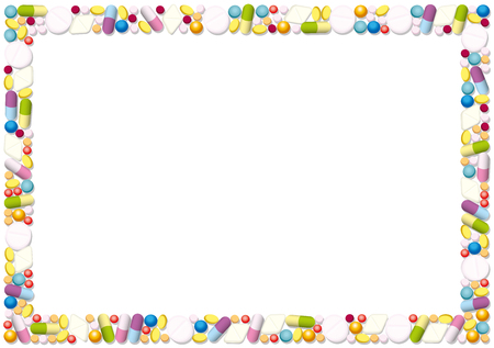 variety: Pills and capsules forming a horizontal frame. Isolated illustration on white background. Illustration