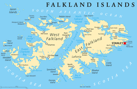 labeling: Falkland Islands, also Malvinas, political map with capital Stanley, administered under United Kingdom, claimed by Argentina. English labeling and scaling. Illustration.