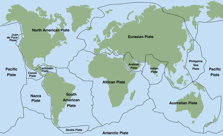 seismology: Plate tectonics - world map with major an minor plates. illustration.