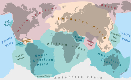 mantle: Tectonic plates of planet earth - map with names of major an minor plates.