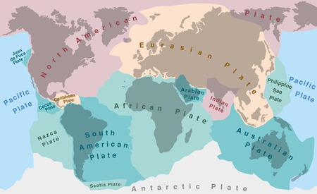 Tektonischen Platten des Planeten Erde - Karte mit Namen von großen sowie kleineren Platten. Illustration
