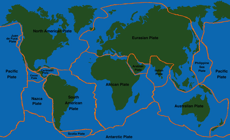 Plate tectonics - world map with fault lines of major an minor plates.