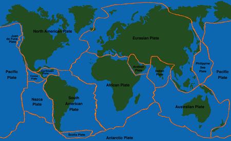 eurasian: Plate tectonics - world map with fault lines of major an minor plates.
