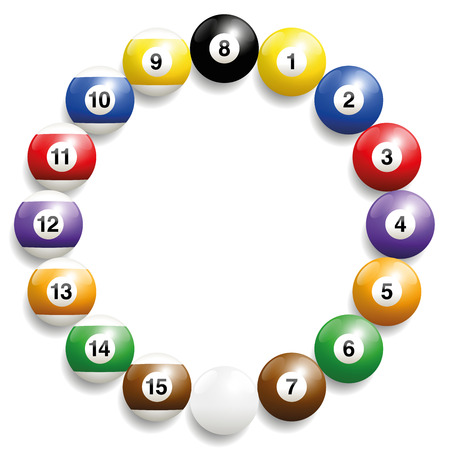 sixteen: Billiard balls - round frame formed by the set of sixteen balls. Three-dimensional and realistic looking, isolated illustration on white background.