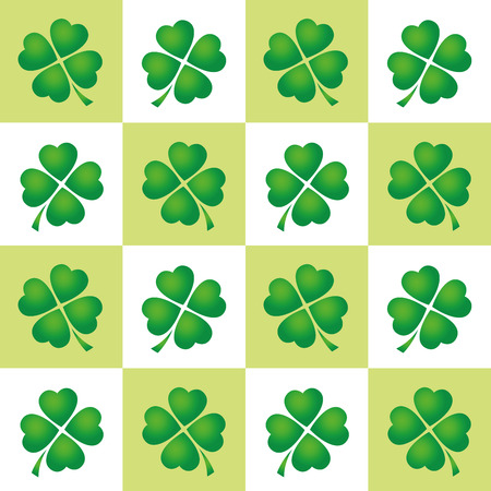 leaved: Shamrock tiles pattern - four leaved clovers on green and white square background. Illustration