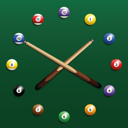 pool cue: Pool billiard balls clock. Three-dimensional illustration on green gradient background. Illustration
