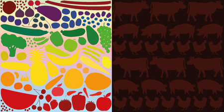 meat diet: Vegan diet, depicted with colorful vegetables and fruits, versus meat eating, depicted with silhouettes of cows, pigs and hens on a blood red background.