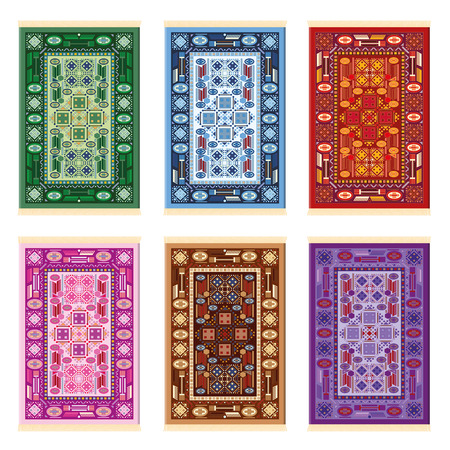 Carpets - oriental pattern - six color variations - green, blue, red, pink, brown and purple. Isolated illustration on white background. Stock Illustratie