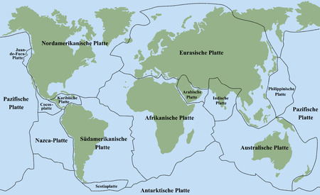 Plate tectonics - planet earth with major and minor plates - GERMAN LABELING