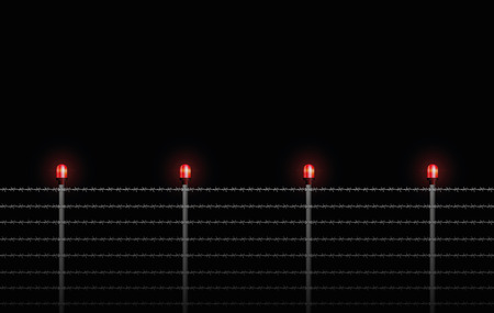 alerting: Barbed wire fence at night with red alarm lights - seamless expandable illustration on black background.