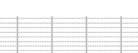 iron defense: Barb wire fence, seamless expandable - isolated illustration on white background.