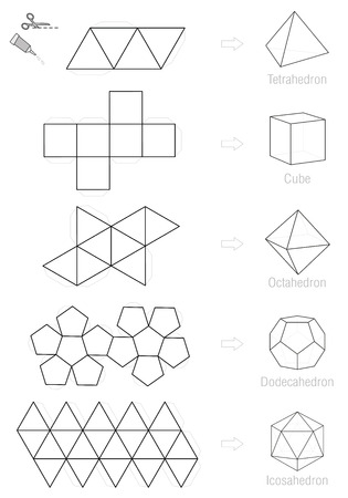 solids: Platonic solids - coloring picture and craft pattern template. Illustration