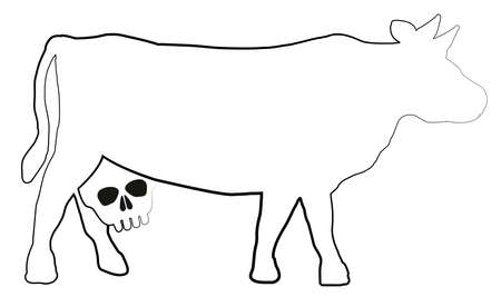 dioxin: Cow with a skull instead of an udder - a symbol for unhealthy milk and dairy products. Isolated illustration on white background.