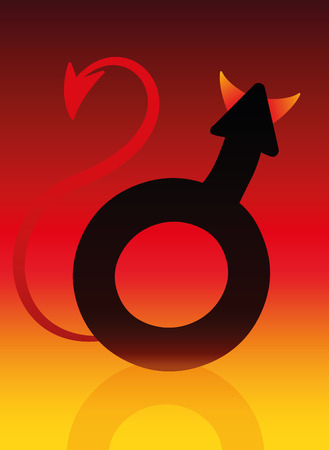 villainous: Male devil symbol with tails and horns on blazing background as a symbol for a bad boy.
