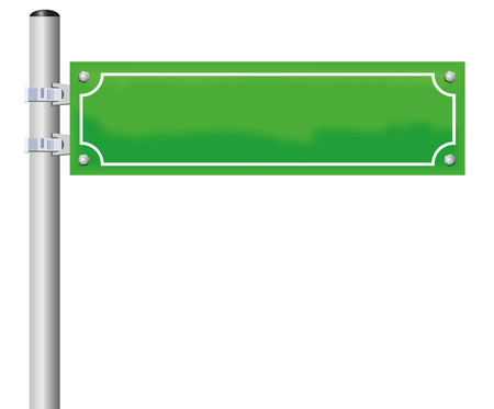 city alley: Street sign - blank, green, fixed on a pole. Isolated illustration on white background.