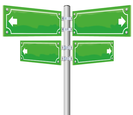 disorientation: Street name signs - four blank, glossy green, metal panels showing in four different directions. Illustration on white background.
