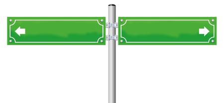 Nom de la rue signes - vert, blanc, avec deux flèches montrant dans des directions opposées. illustration isolé sur fond blanc.