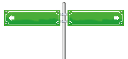 street sign: Street name signs - green, blank, with two arrows showing in opposite directions. Isolated illustration on white background.