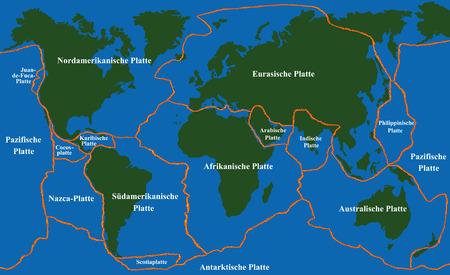 La tectónica de placas - mapa del mundo con líneas de falla de las grandes placas de un menor. Ilustración de vector